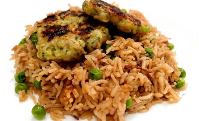 Rice and kebabs